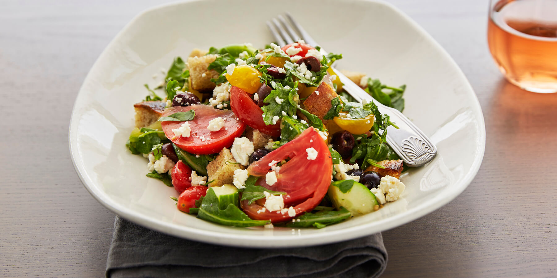 Greek Panzanelle Salad